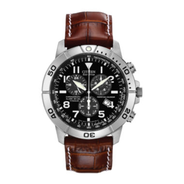 jcpenney.com | Citizen® Eco-Drive® Mens Brown Leather Strap Chronograph Watch BL5250-02L