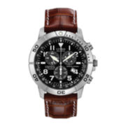 Citizen® Eco-Drive™ Mens Silver-Tone & Brown Chronograph Watch BL5250-02L