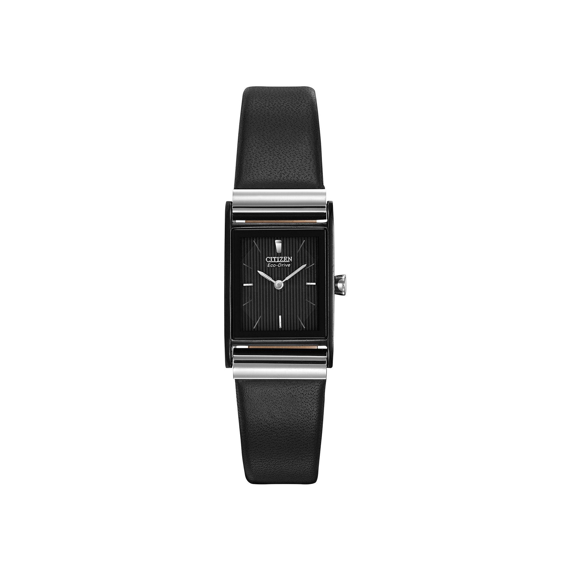 Citizen Eco-Drive Womens Rectangular Black Leather Strap Watch EW9215-01E