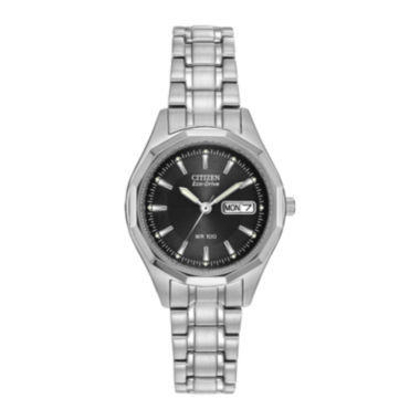 jcpenney.com | Citizen® Eco-Drive® Womens Black Dial Stainless Steel Bracelet Watch EW3140-51E