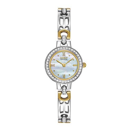 Citizen® Eco-Drive® Womens Crystal-Accent Two-Tone Bracelet Watch EW8464-52D