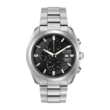 jcpenney.com | Citizen® Eco-Drive® Mens Silver-Tone & Black Chronograph Watch CA0020-56E