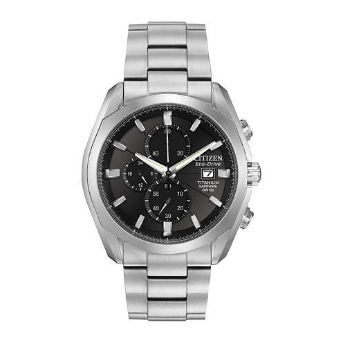 Citizen® Eco-Drive® Mens Silver-Tone & Black Chronograph Watch CA0020-56E