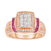 1 CT. T.W. Diamond & Ruby Ring