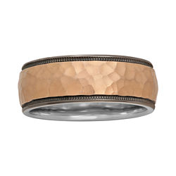 BEST VALUE! Mens 8mm Hammered Two-Tone Band