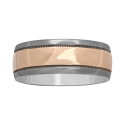 BEST VALUE! Mens 8mm Polished Two-Tone Band