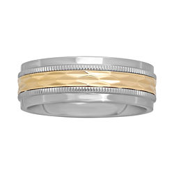 BEST VALUE! Mens 8mm Gold & Stainless Steel Band