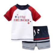 Carter's® Firecracker Rashguard and Swim Trunks - Boys newborn-12m