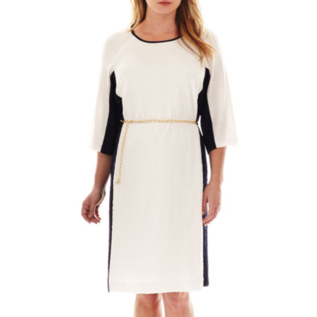 Studio 1 3/4-Sleeve Belted Dress - Plus