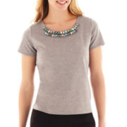 Worthington® Short-Sleeve Jeweled Shell Top