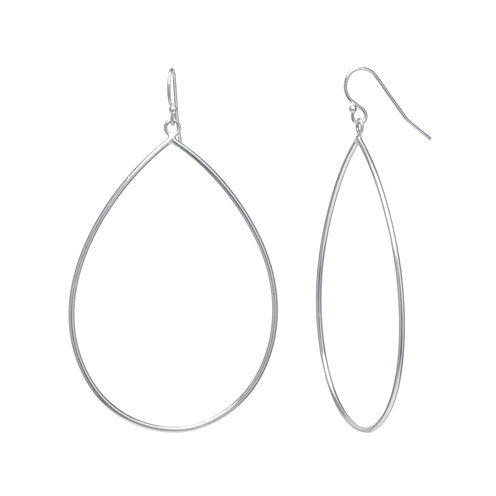 Silver Reflections™ Silver-Plated Openwork Pear-Shaped Drop Earrings