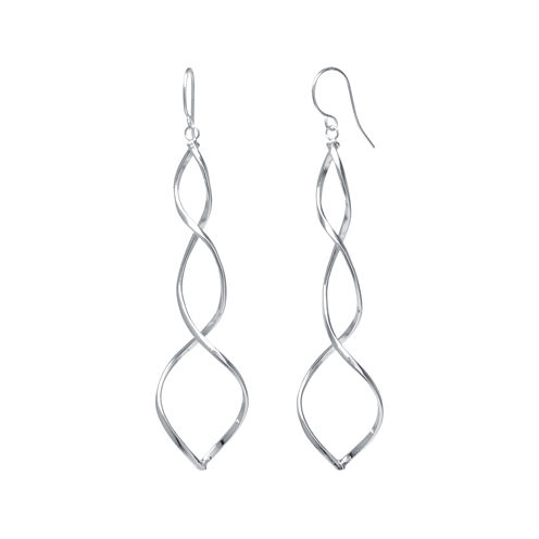 Silver-Plated Spiral Drop Earrings