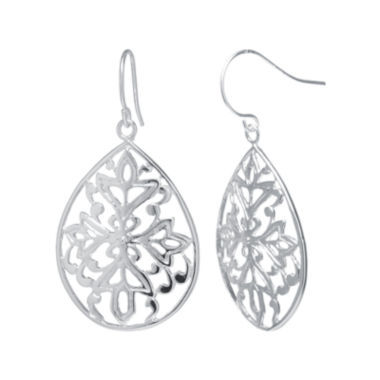 jcpenney.com | Silver-Plated Floral Filigree Pear-Shaped Drop Earrings