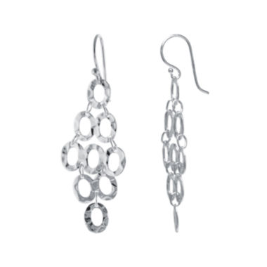 jcpenney.com | Silver Reflections™ Silver-Plated Hammered Oval Cluster Drop Earrings