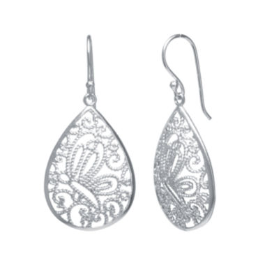 jcpenney.com | Silver-Plated Filigree Pear-Shaped Drop Earrings