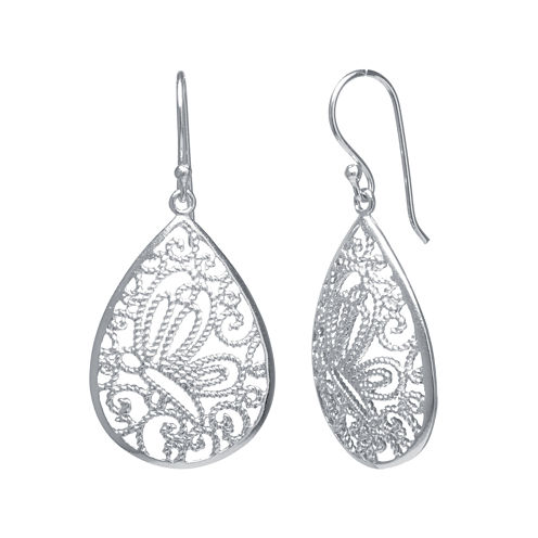 Silver-Plated Filigree Pear-Shaped Drop Earrings