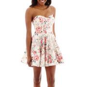 Trixxi® Strapless Floral Poplin Dress