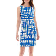 Alyx® Sleeveless Grid Print Basic Sheath Dress