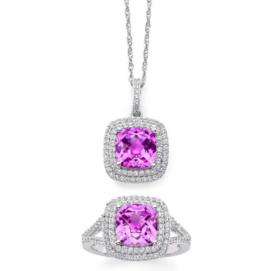 jcpenney.com | Lab-Created Pink & White Sapphire Double Halo Ring & Pendant Necklace Boxed Set