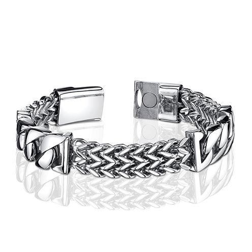 Mens Stainless Steel Franco Link Inset Bracelet