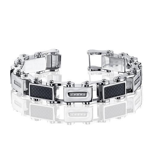 Mens 1/7 CT. T.W. Diamond Stainless Steel and Carbon Fiber Bracelet