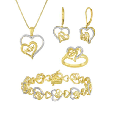 "jcpenney.com | 1/5 CT. T.W. Diamond ""Mom"" Two-Tone Double-Heart 4-pc. Boxed Jewelry Set"