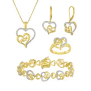 "1/5 CT. T.W. Diamond ""Mom"" Two-Tone Double-Heart 4-pc. Boxed Jewelry Set"