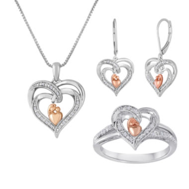 jcpenney.com | 1/10 CT. T.W. Diamond Mom Two-Tone Double-Heart 3-pc. Boxed Jewelry Set