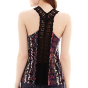 Self Esteem® Crochet-Back Tank Top