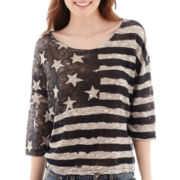 Love By Design 3/4-Sleeve Hatchi Print Top