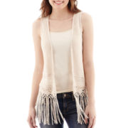 Love By Design Fringe-Trimmed Crochet Vest
