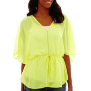 a.n.a® Elbow-Sleeve V-Neck Peasant Top- Petite