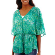 a.n.a® Elbow-Sleeve V-Neck Peasant Top