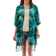a.n.a® Short-Sleeve Woven Kimono Duster