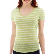 a.n.a® Striped Short-Sleeve V-Neck T-Shirt