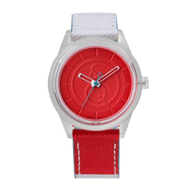 jcpenney.com | Q&Q SmileSolar White/Red Sport Strap Watch