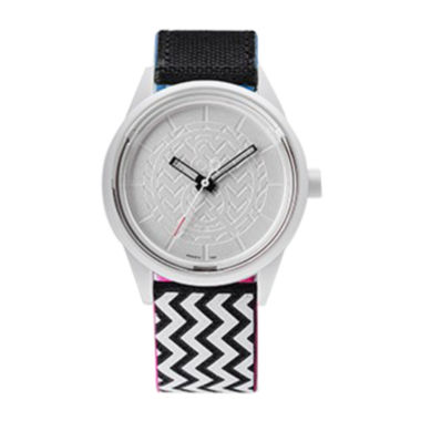 jcpenney.com | Q&Q SmileSolar White/Black Zigzag Strap Watch