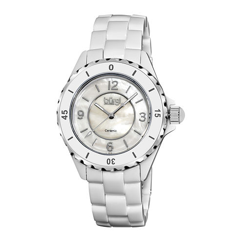 bürgi Womens White Ceramic Bracelet Watch