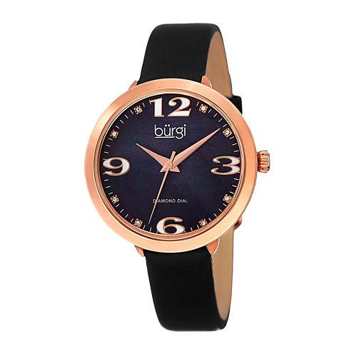 bürgi Womens Diamond-Accent Black Leather Strap Watch
