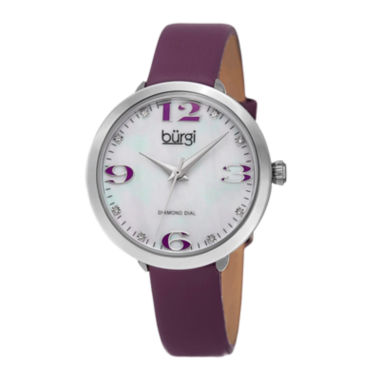 jcpenney.com | Burgi Womens Diamond Accent Mother-of-Pearl Purple Strap Watch