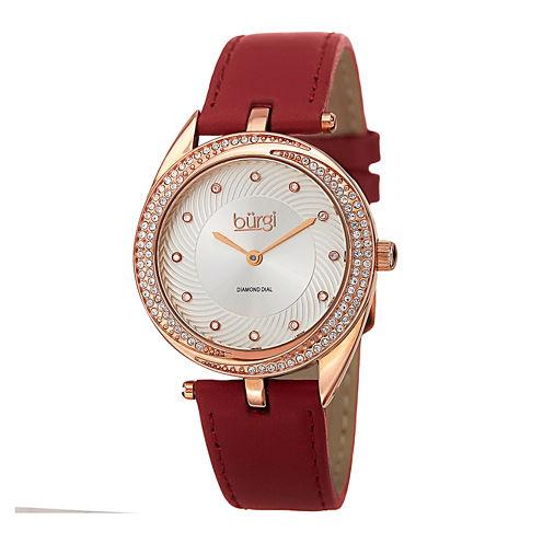 bürgi Womens Diamond-Accent Rose-Tone Bezel Red Leather Strap Watch