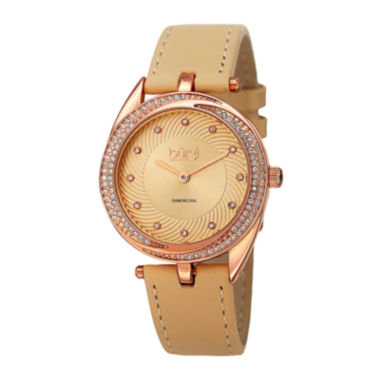 jcpenney.com | Burgi Womens Diamond-Accent Rose-Tone Bezel Tan Leather Strap Watch
