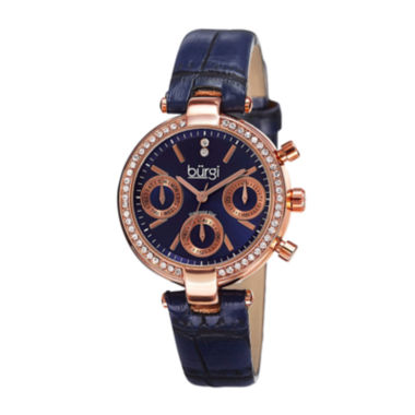 jcpenney.com | Burgi Womens Diamond Accent Rose-Tone Blue Strap Watch
