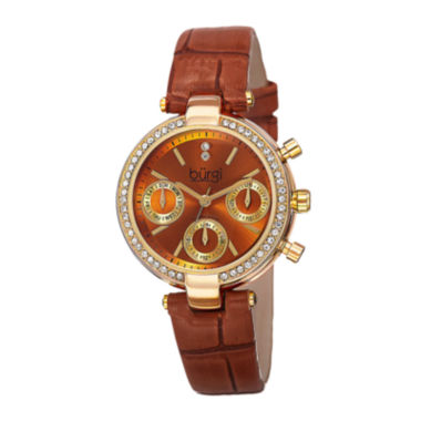 jcpenney.com | Burgi Womens Diamond Accent Crystal Gold-Tone Brown Strap Watch