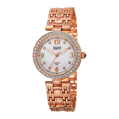 Burgi Womens White Dial Rose-Tone Bracelet Watch