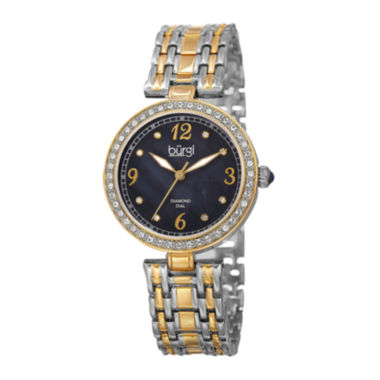 jcpenney.com | Burgi Womens Black Dial Two-Tone Bracelet Watch