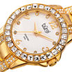 Burgi Womens Diamond- and Crystal-Accent Gold-Tone Watch