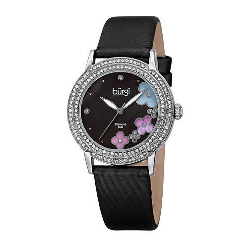 Burgi Womens Flower Dial Black Leather Strap Watch
