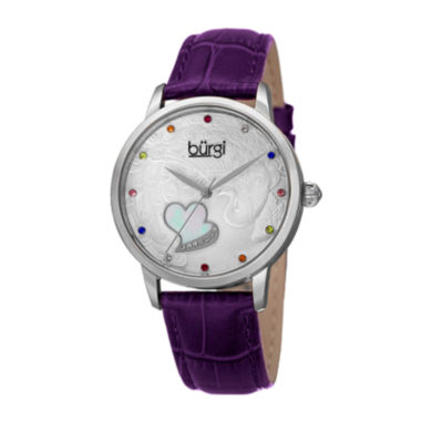 jcpenney.com | Burgi Womens Multicolor Crystal Purple Leather Strap Watch