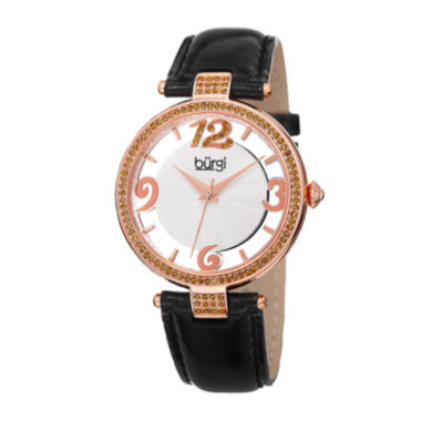 jcpenney.com | Burgi Womens Crystal-Embellished Black Leather Watch